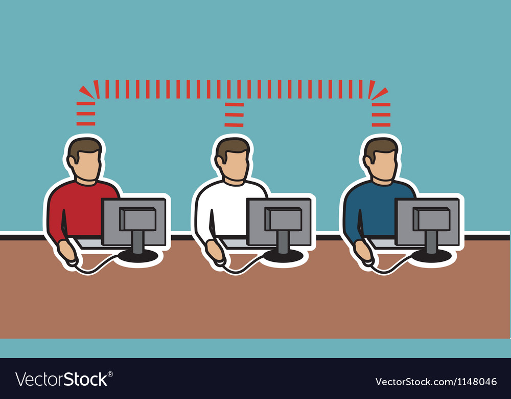 Network of computer men vector | Price: 1 Credit (USD $1)