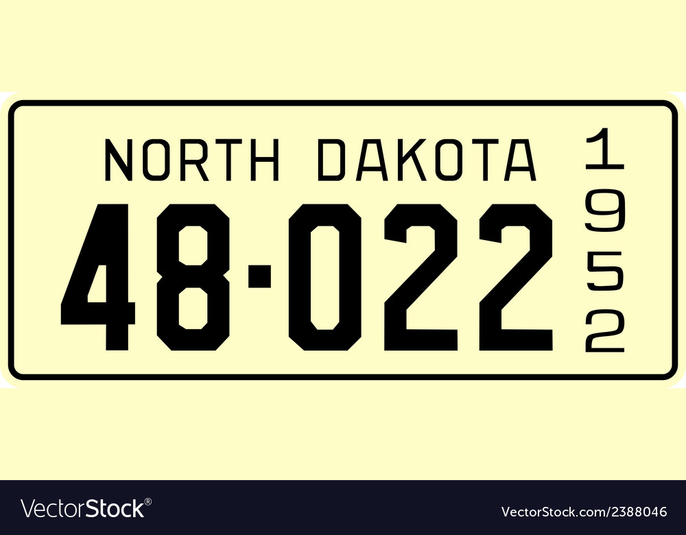 North dakota 1952 license plate vector | Price: 1 Credit (USD $1)