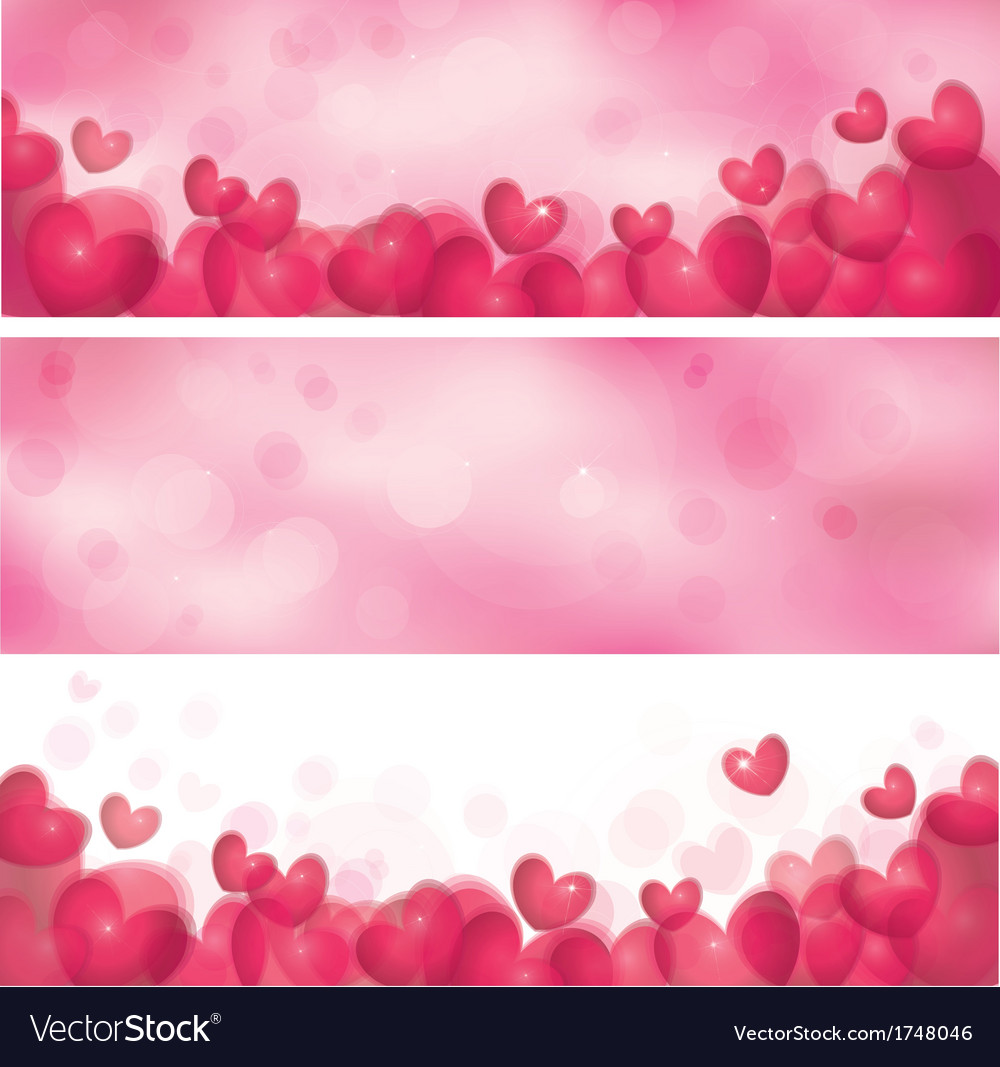 Pink heart banners vector | Price: 1 Credit (USD $1)