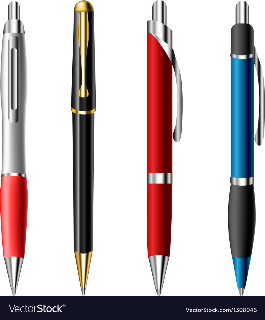 Realistic ballpoint pen set vector | Price: 3 Credit (USD $3)