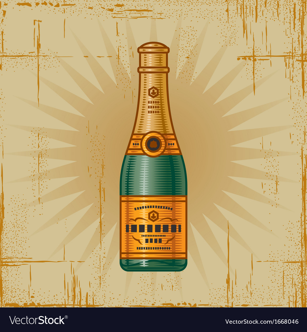 Retro champagne bottle vector | Price: 1 Credit (USD $1)