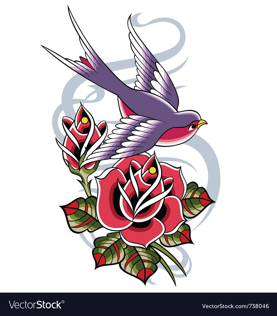 Rose and swallow greeting design vector | Price: 3 Credit (USD $3)