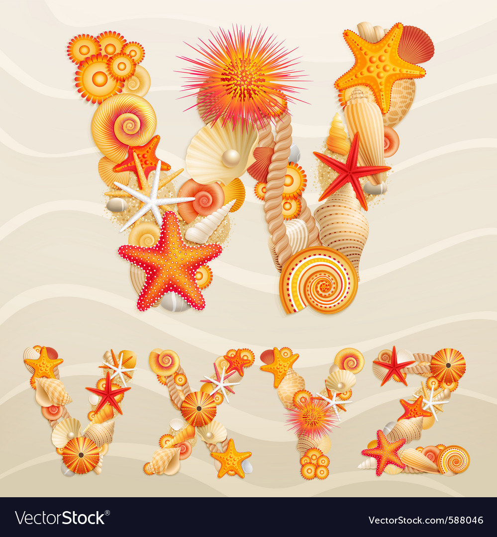 Sea life font vector | Price: 5 Credit (USD $5)