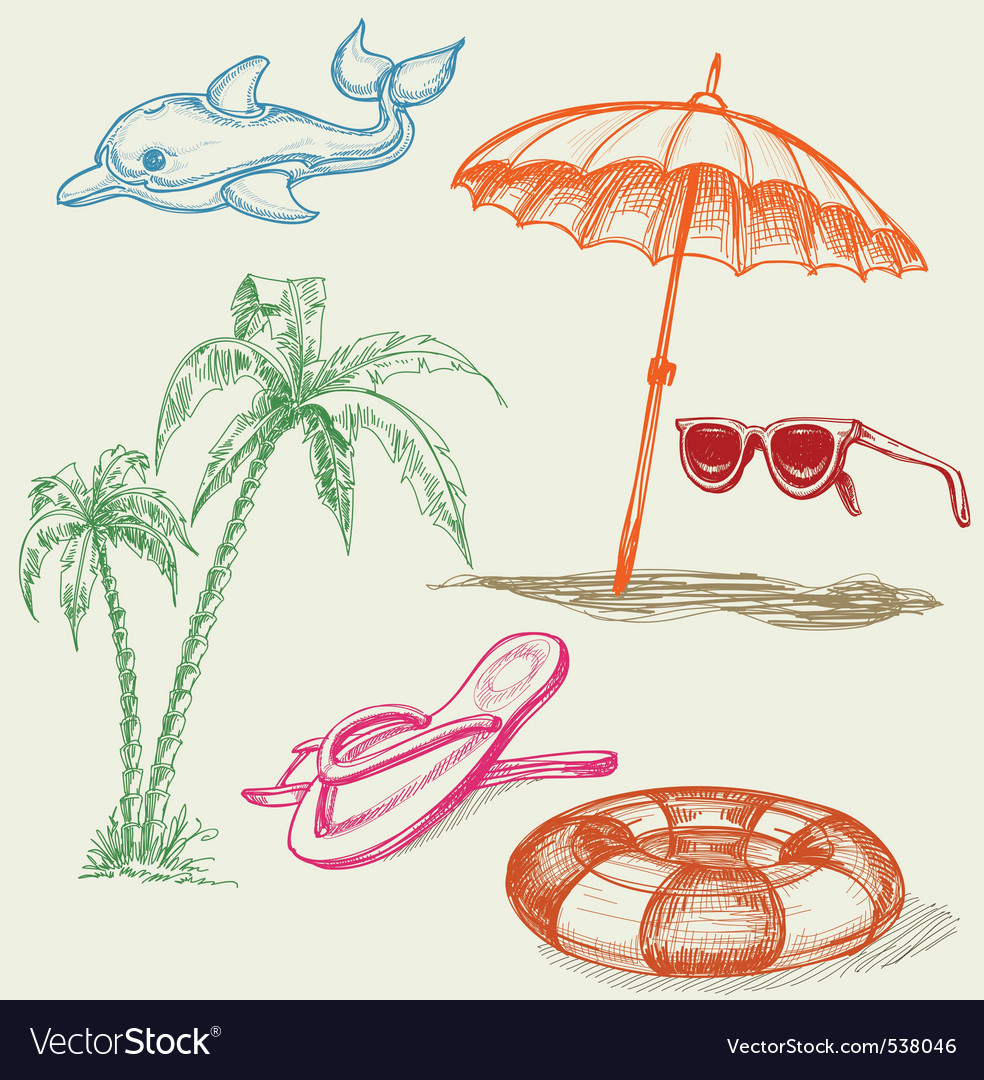 Summer beach vector | Price: 1 Credit (USD $1)