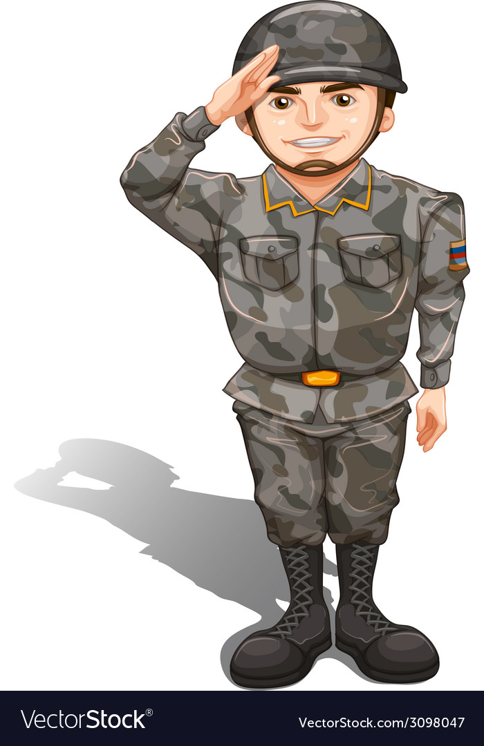 A brave soldier showing a hand respect vector | Price: 1 Credit (USD $1)