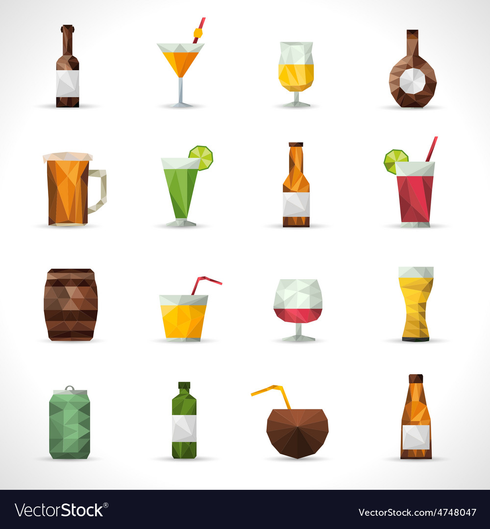 Alcohol drinks polygonal icons vector | Price: 1 Credit (USD $1)