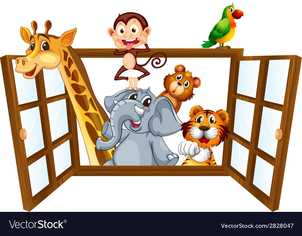 Animals and window vector | Price: 1 Credit (USD $1)