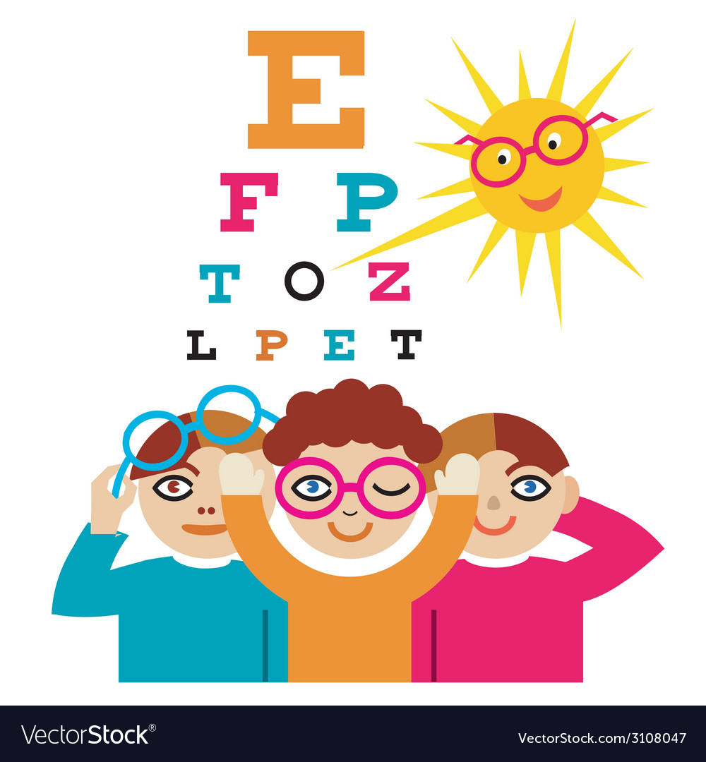 Children at the eye doctor vector | Price: 3 Credit (USD $3)