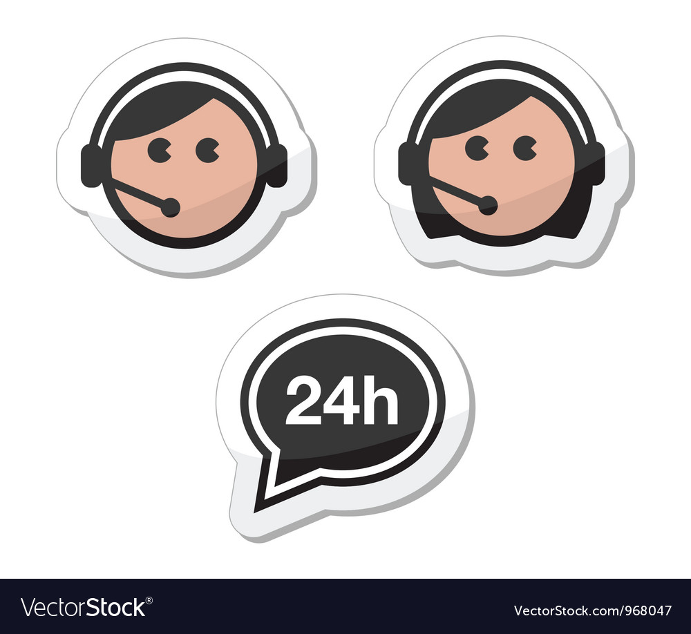 Customer service icons set labels - call center vector | Price: 1 Credit (USD $1)