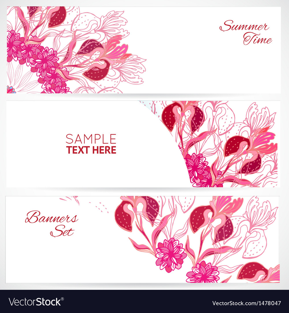 Red floral ornament banners set vector | Price: 1 Credit (USD $1)