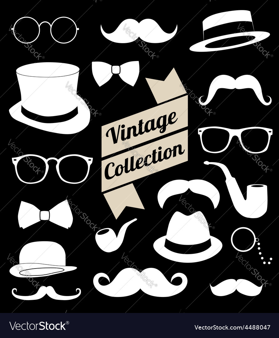 Set of collection vintage fashion elements vector | Price: 1 Credit (USD $1)