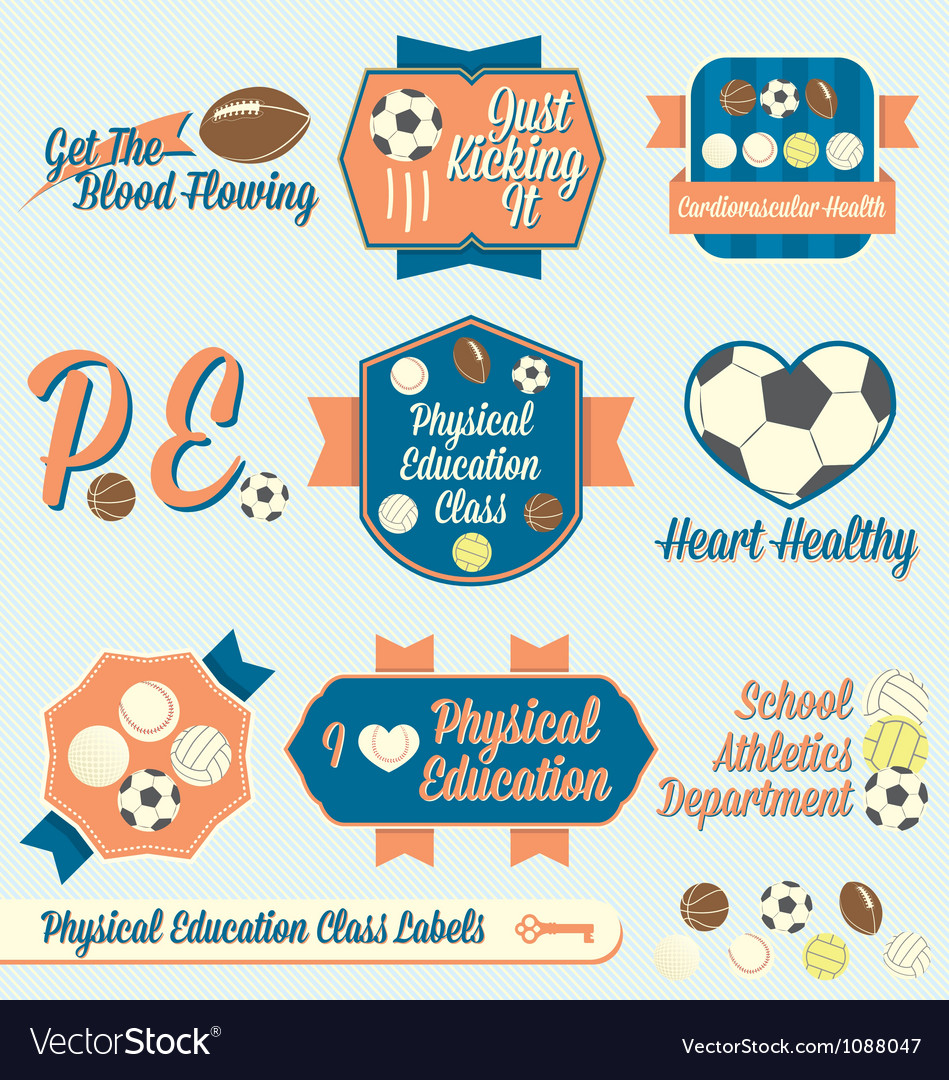 Vintage physical education class labels and icons vector | Price: 1 Credit (USD $1)