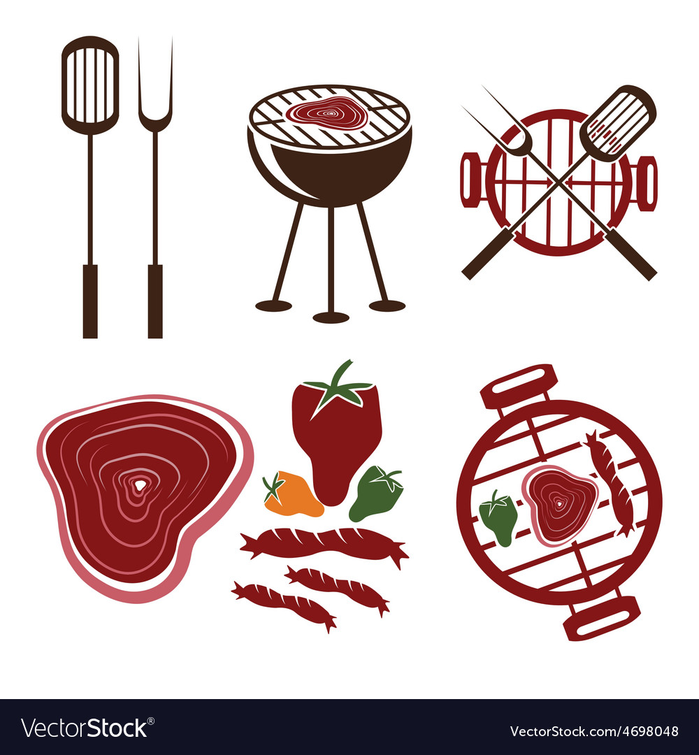 Bbq grill labels collection vector | Price: 1 Credit (USD $1)