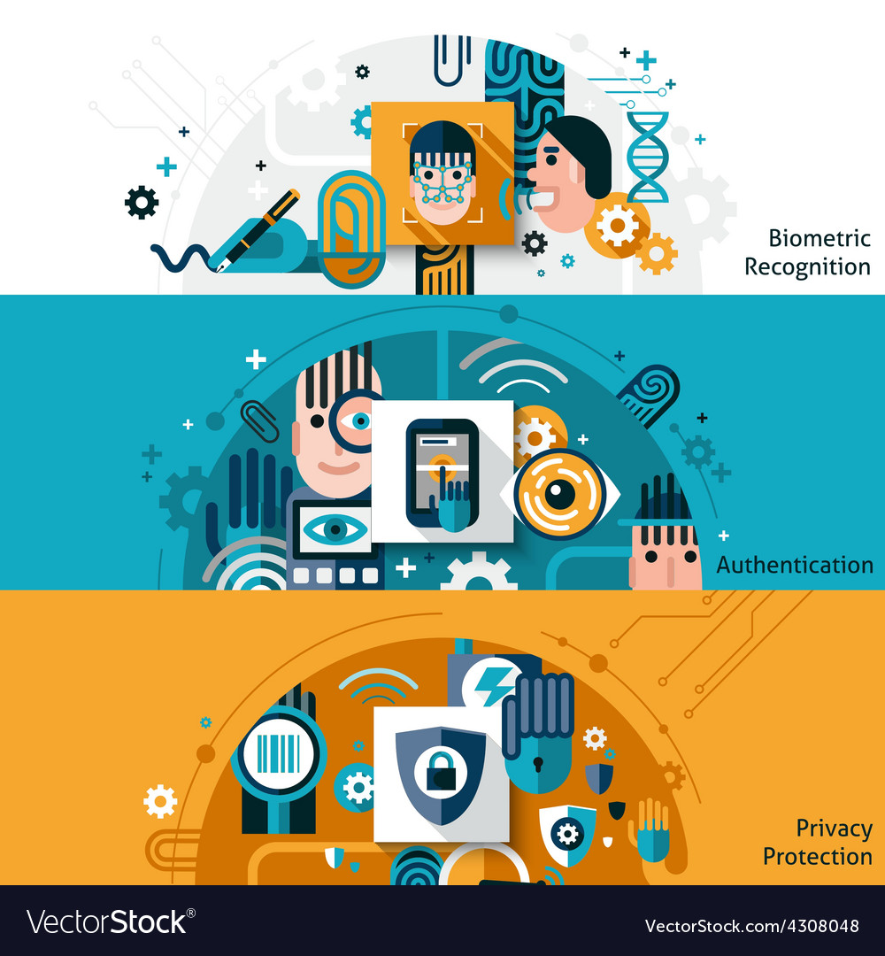 Biometric authentication banners vector | Price: 1 Credit (USD $1)