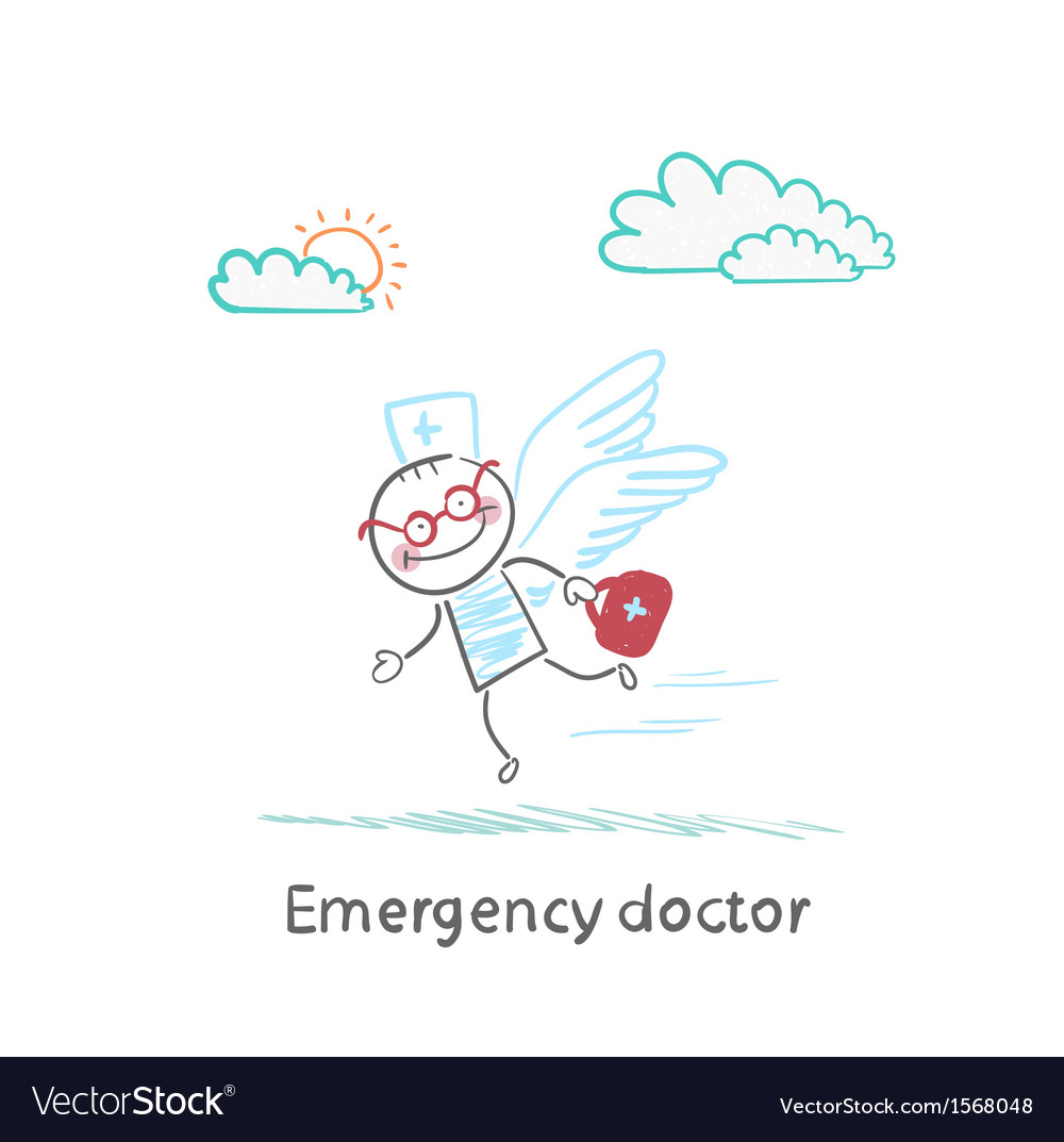 Emergency doctor is flying with wings vector | Price: 1 Credit (USD $1)