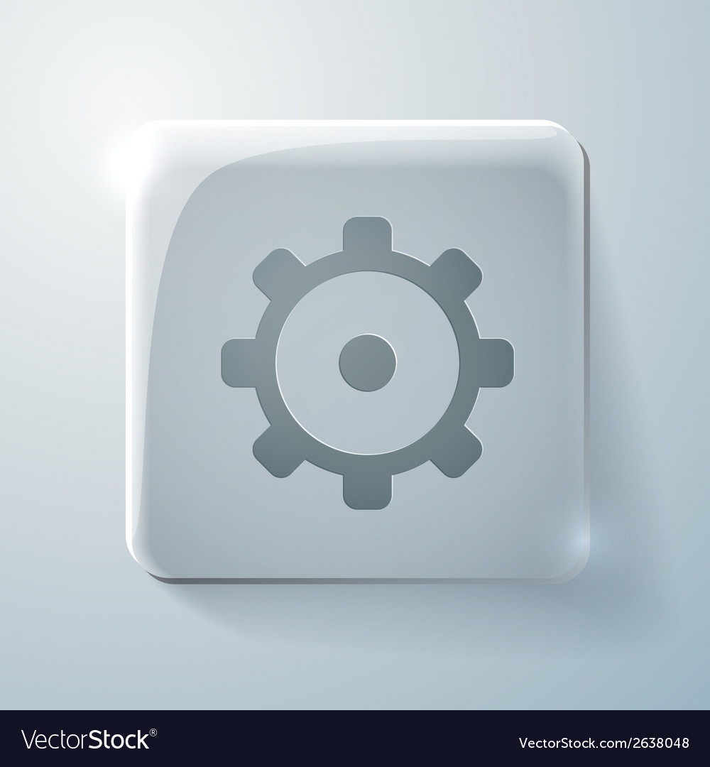 Glass square icon symbol settings cogwheel vector | Price: 1 Credit (USD $1)