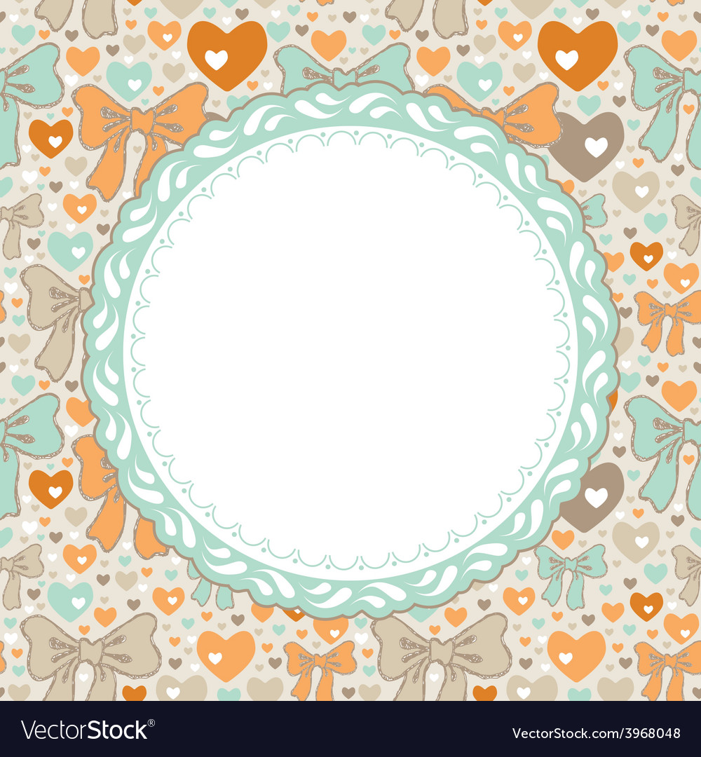 Greeting card pattern with bows and hearts vector | Price: 1 Credit (USD $1)