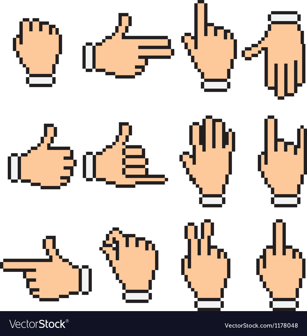 Hand signs pixel pictograms vector | Price: 1 Credit (USD $1)