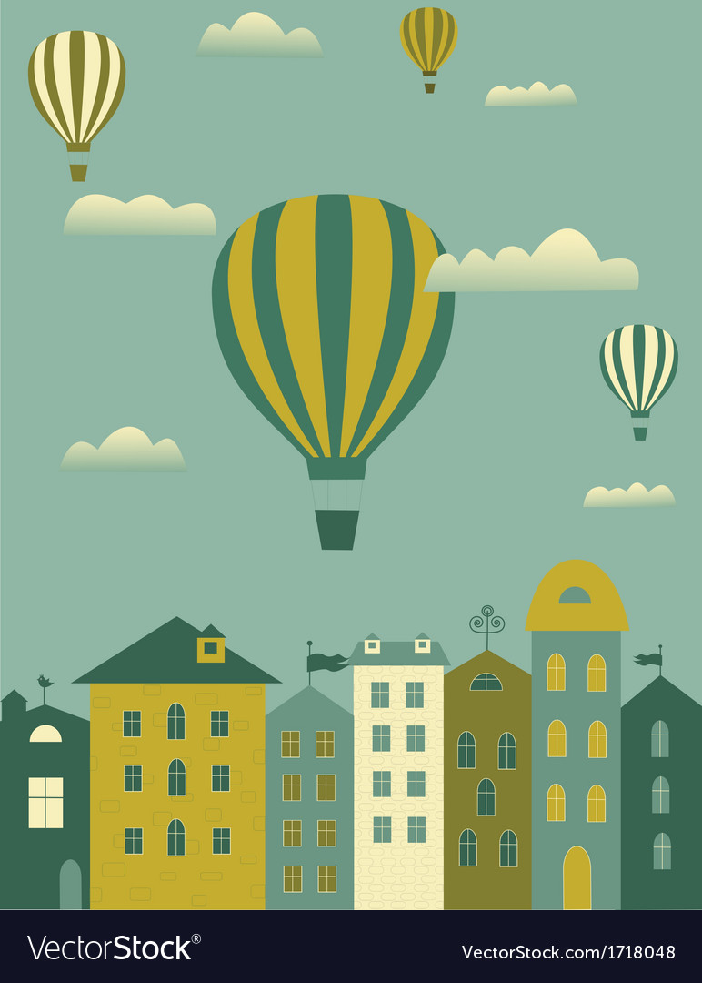 Hot air balloon over the town vector | Price: 1 Credit (USD $1)