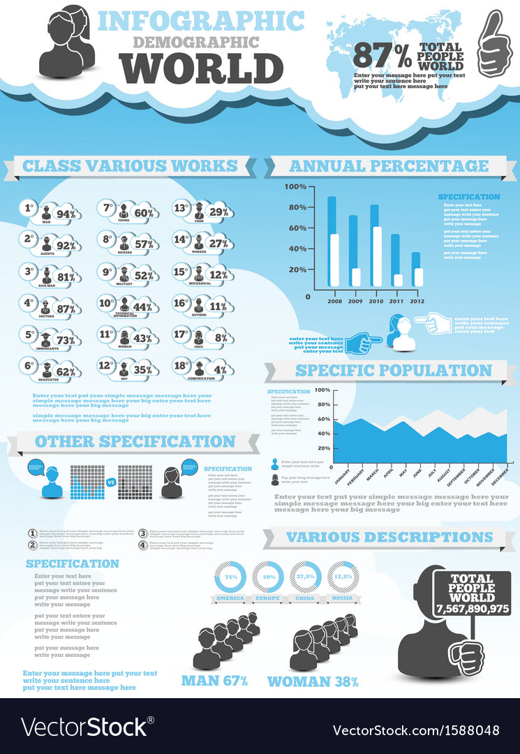 Infographic demographic modern style 4 vector | Price: 1 Credit (USD $1)