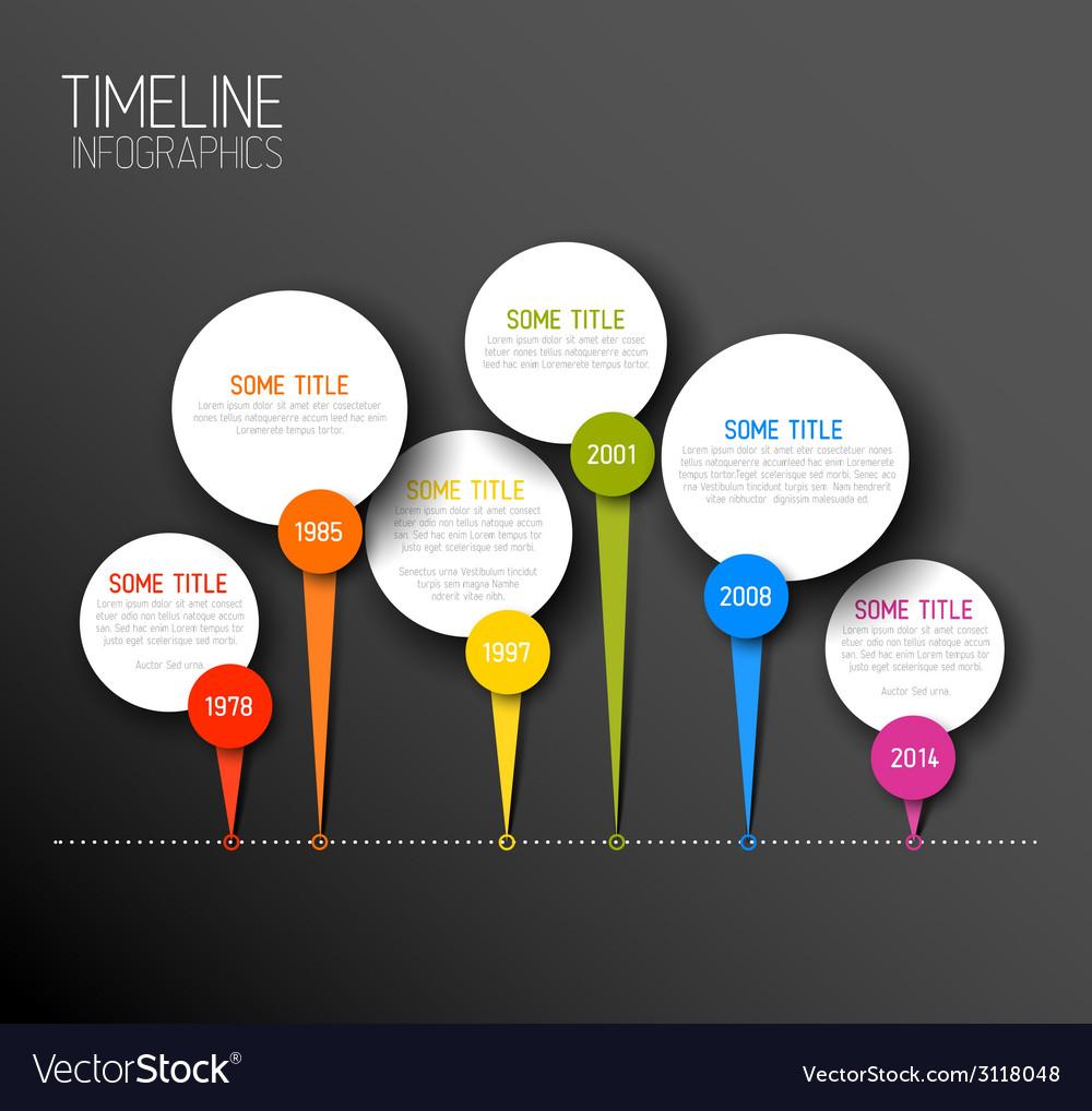 Infographic horizontal dark timeline report vector | Price: 1 Credit (USD $1)