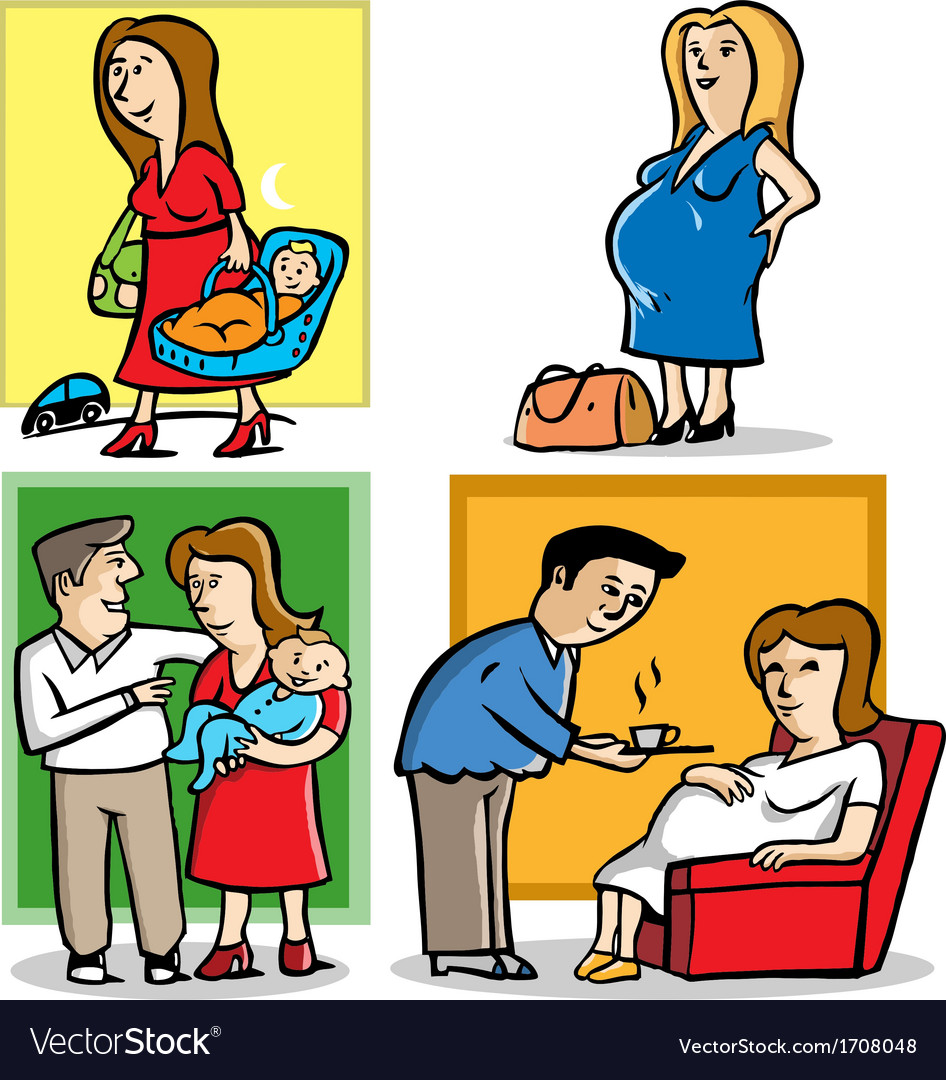 Mother in pregnant and a baby vector | Price: 1 Credit (USD $1)