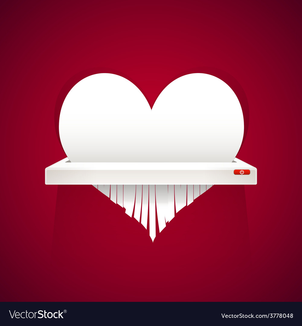 Paper heart is cut into shredder vector | Price: 1 Credit (USD $1)