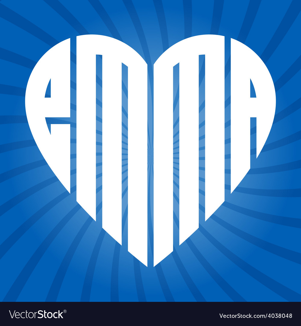 Popular female name emma in heart vector | Price: 1 Credit (USD $1)