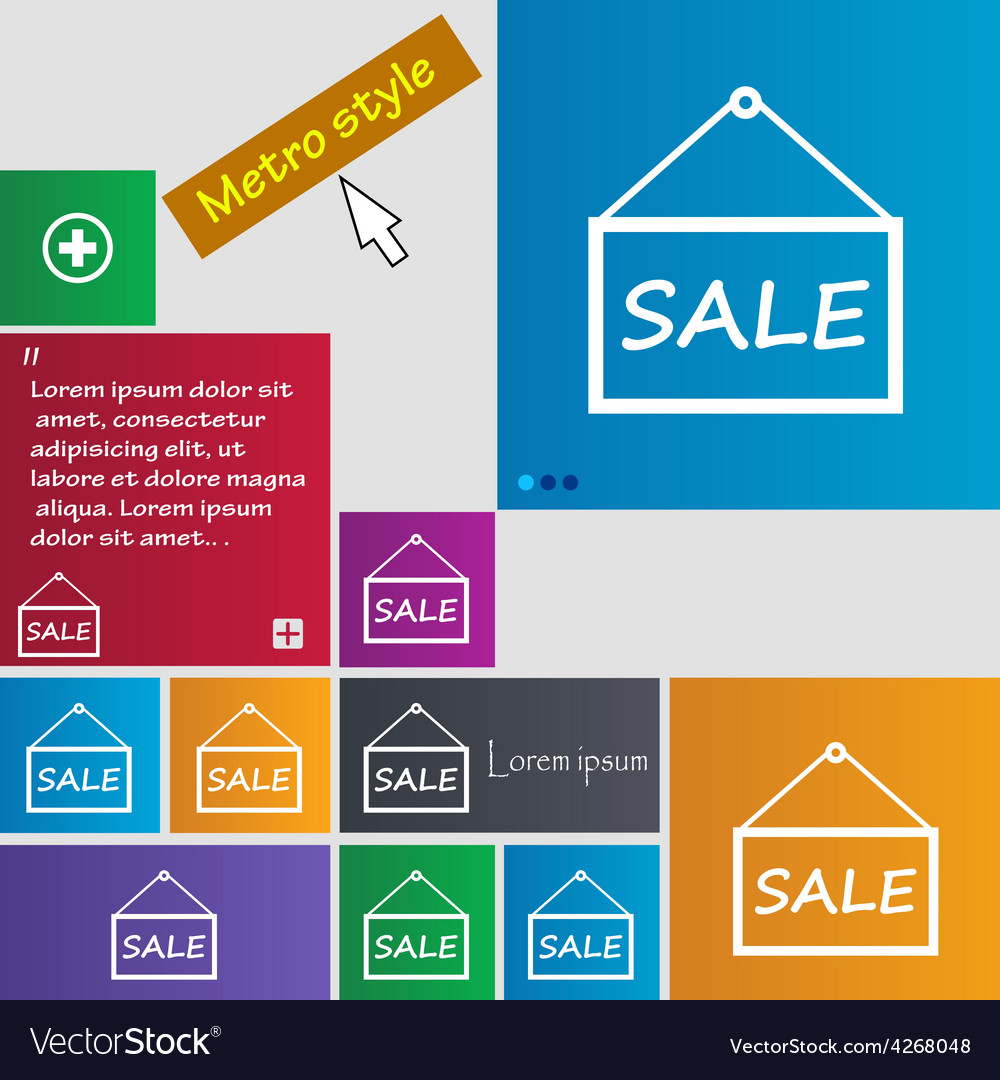 Sale tag icon sign metro style buttons modern vector | Price: 1 Credit (USD $1)