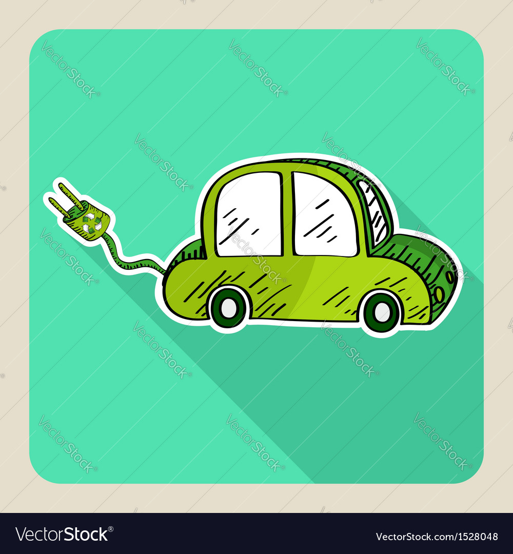 Sketch style green electric car vector | Price: 1 Credit (USD $1)