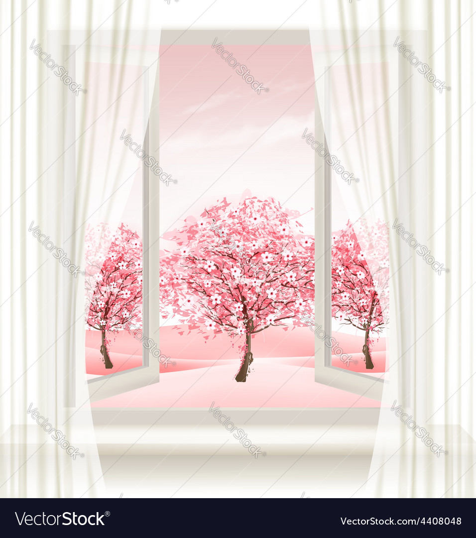 Spring background with an open window and vector | Price: 3 Credit (USD $3)