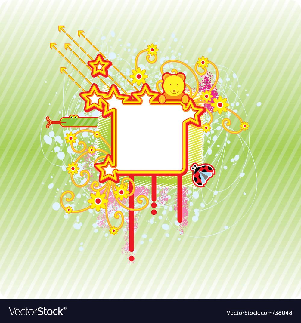 Spring square frame vector | Price: 1 Credit (USD $1)