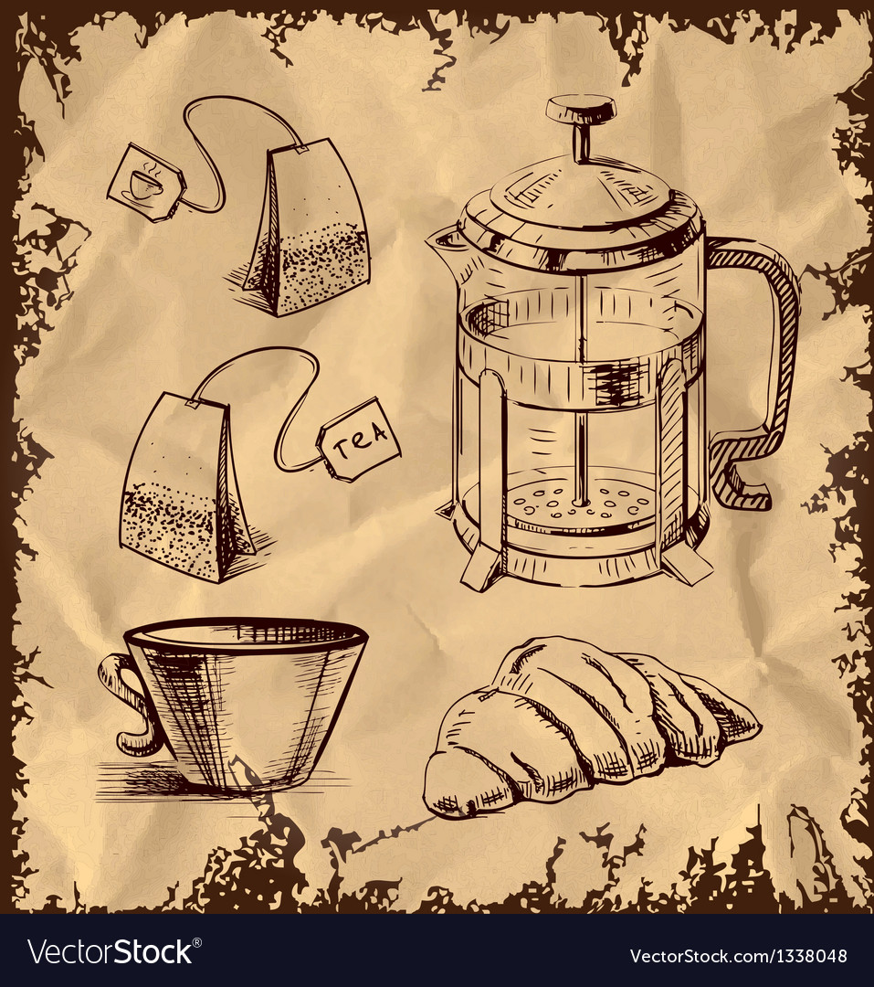 Tea time objects collection on vintage background vector | Price: 1 Credit (USD $1)