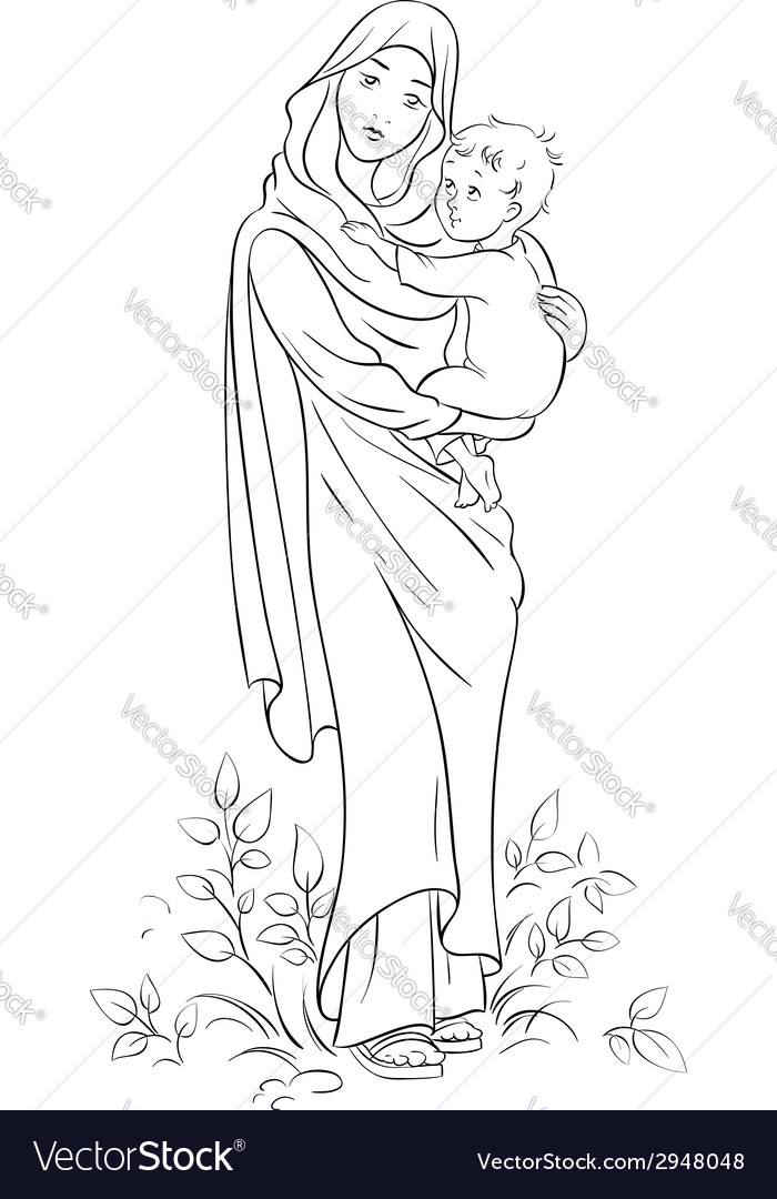 Virgin mary holding baby jesus outlined vector | Price: 1 Credit (USD $1)