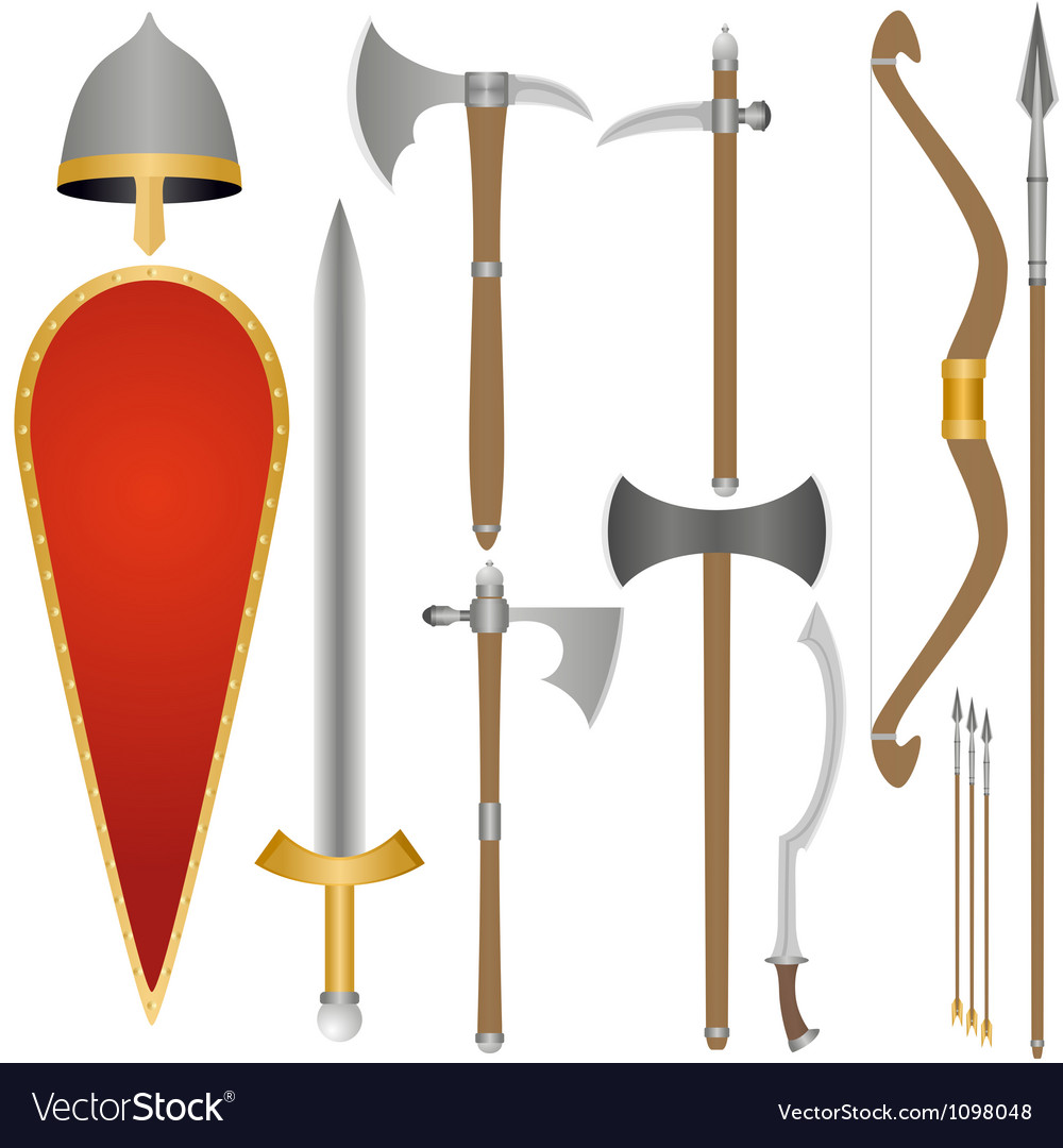 Weapon and armor of old russian soldiers vector | Price: 1 Credit (USD $1)