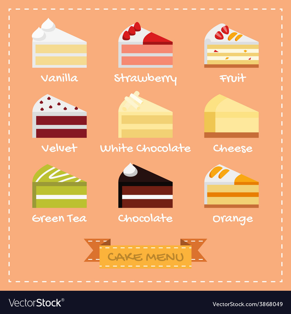 Flat design of cake menu vector | Price: 1 Credit (USD $1)