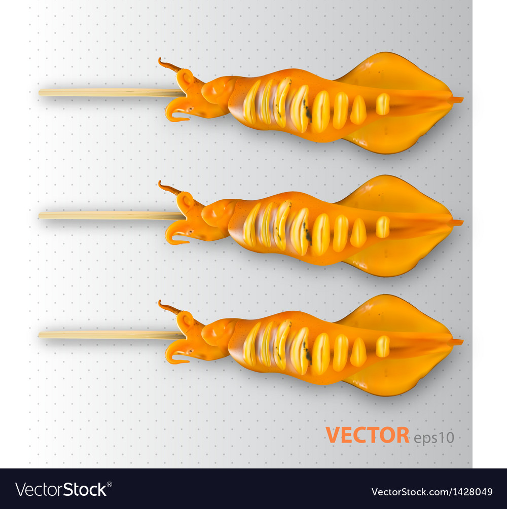 Grilled squid vector | Price: 1 Credit (USD $1)