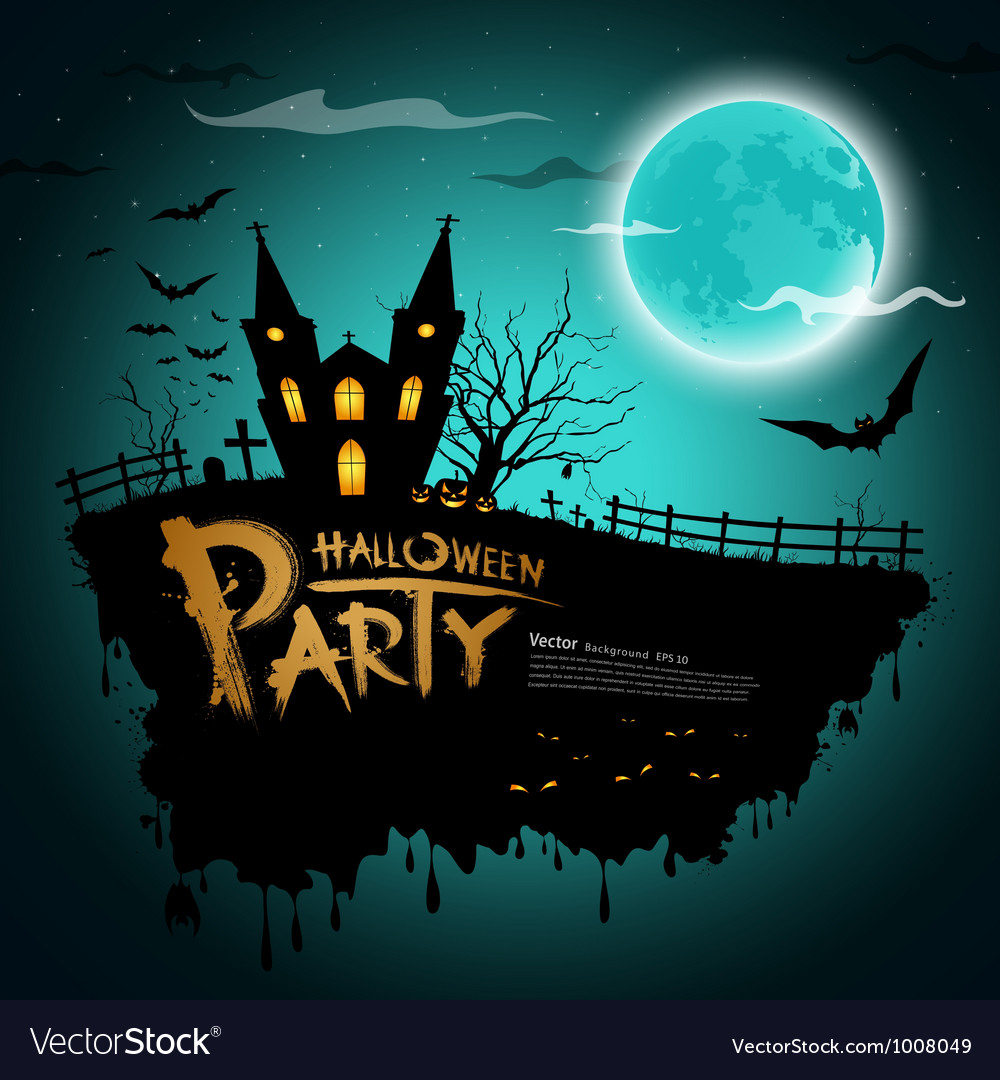Halloween party greeting card vector | Price: 1 Credit (USD $1)
