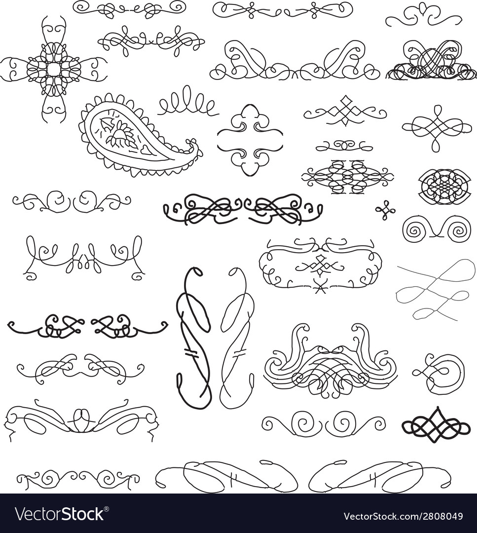 Hand sketched vintage decorations vector | Price: 1 Credit (USD $1)