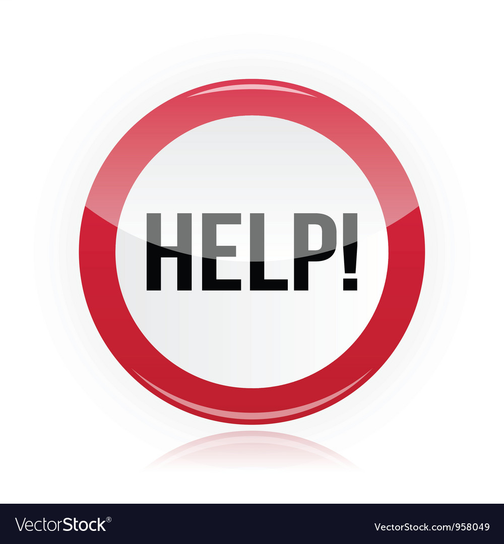 Help - problem glossy red sign vector | Price: 1 Credit (USD $1)