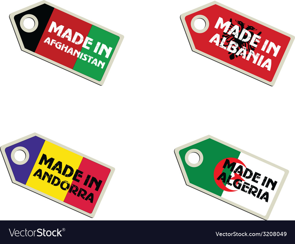 Label made in afghanistan albania algeria andorra vector | Price: 1 Credit (USD $1)