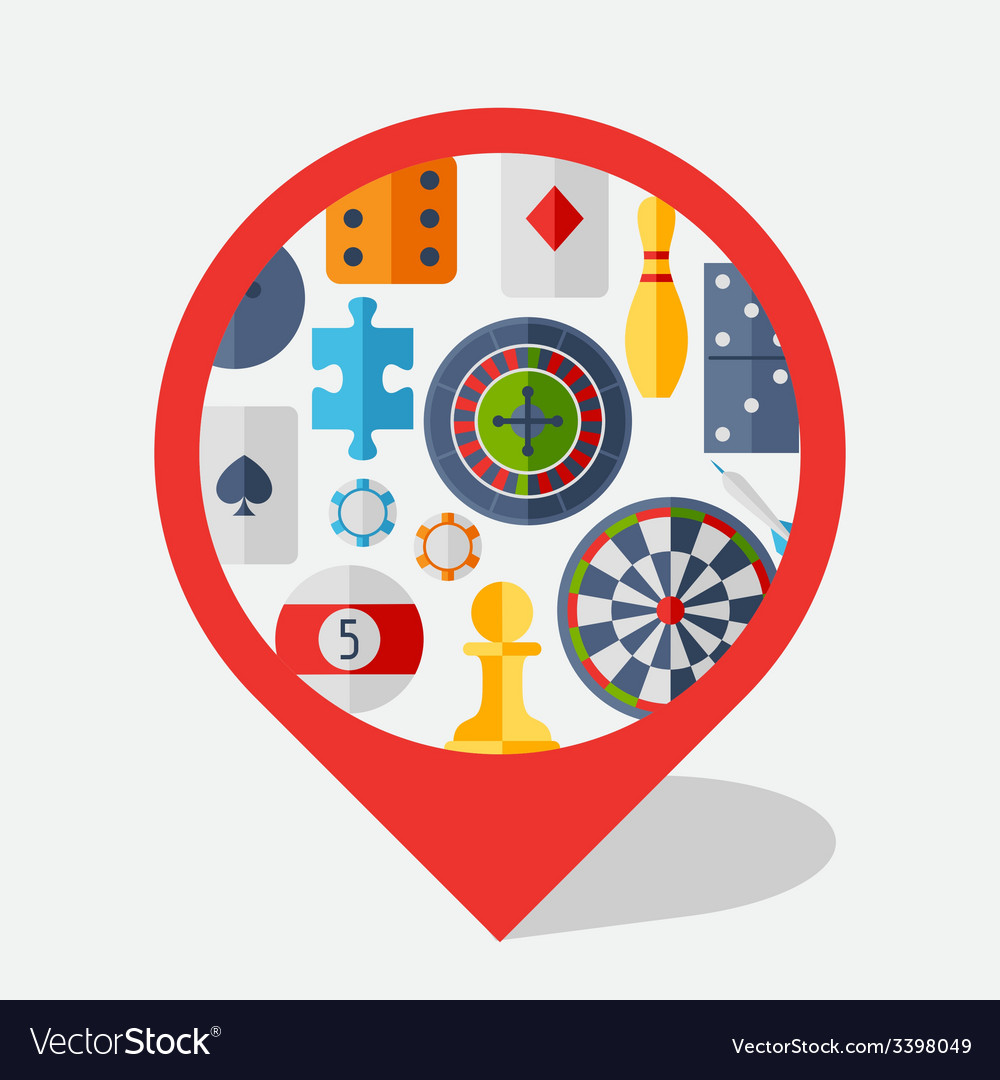 Navigation marker with game icons in flat design vector | Price: 1 Credit (USD $1)