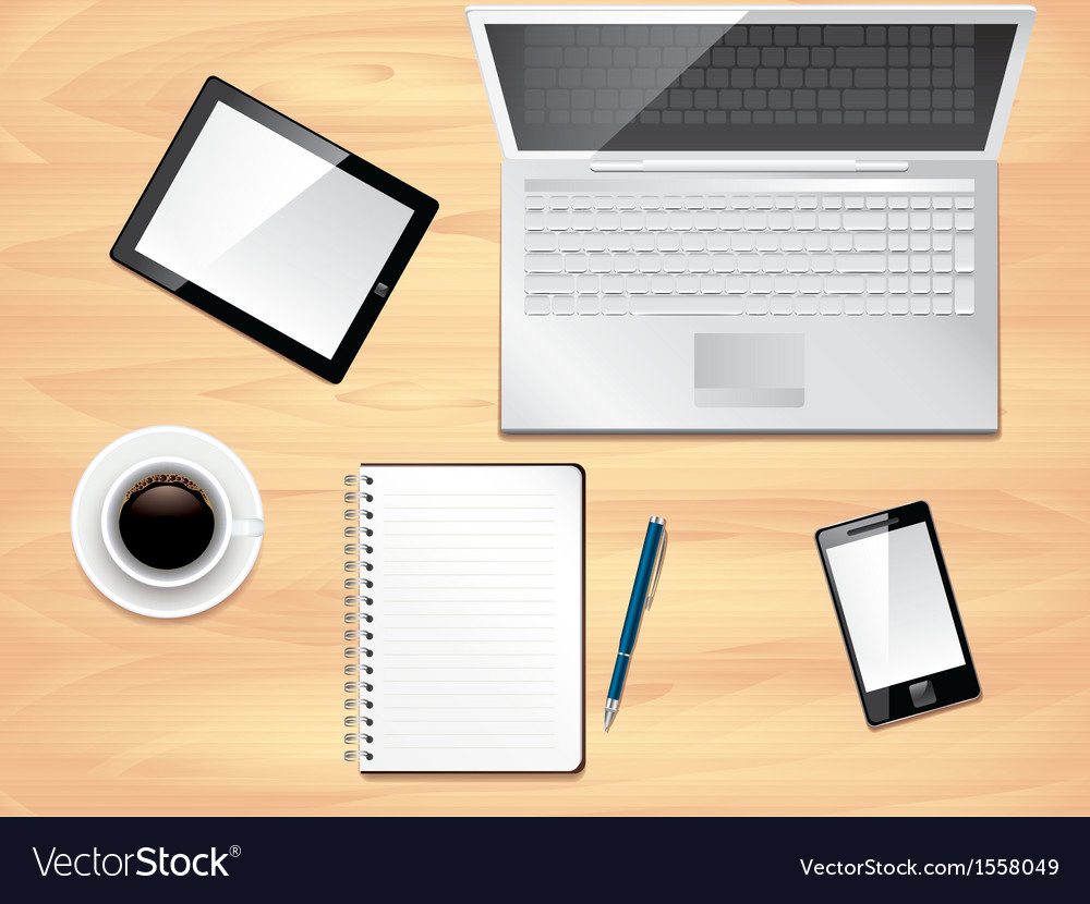 Office desk laptop background vector | Price: 1 Credit (USD $1)