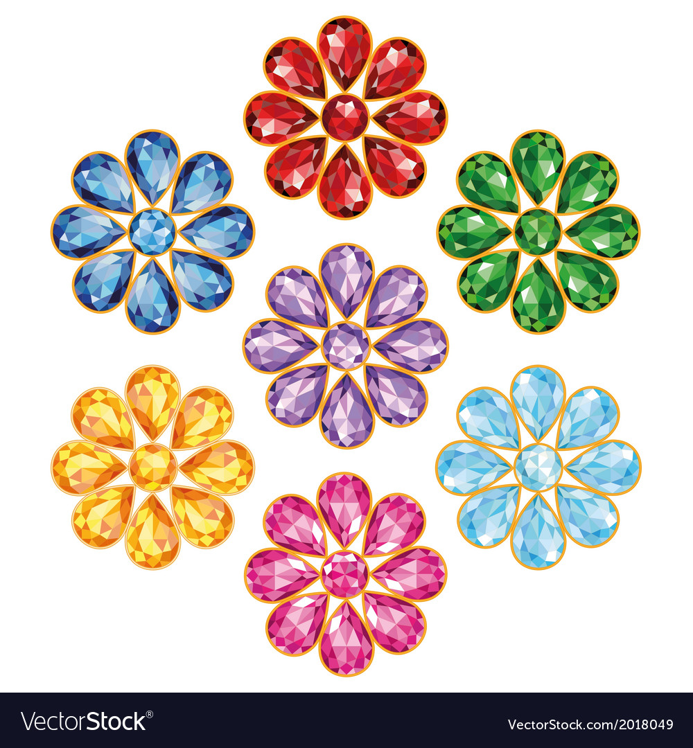 Seven precious flower isolated objects vector | Price: 1 Credit (USD $1)