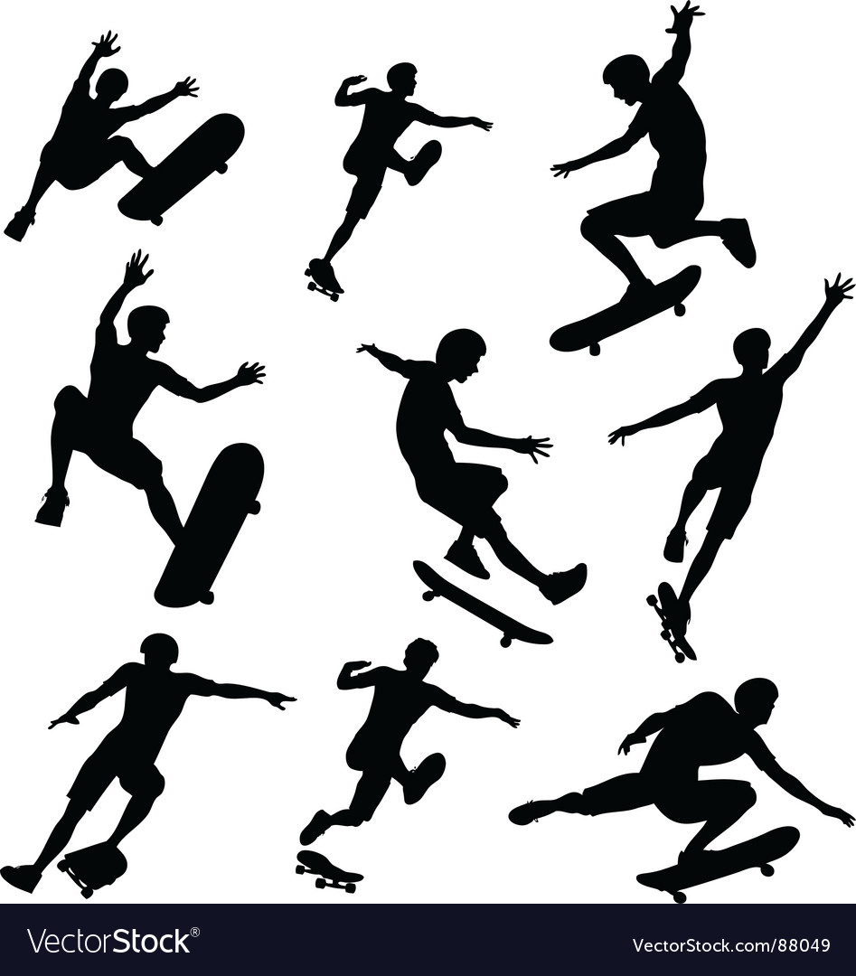 Skater silhouettes vector | Price: 1 Credit (USD $1)