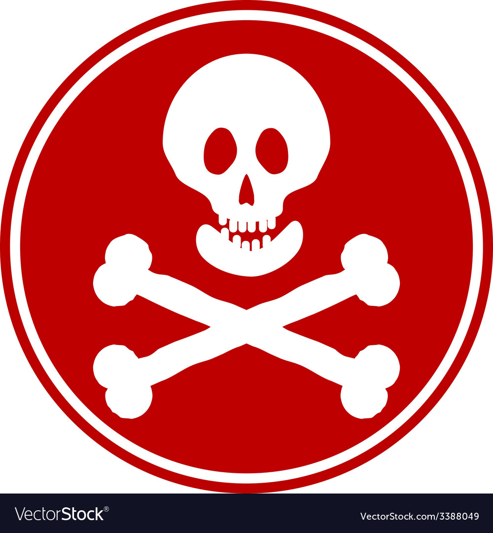 Skull and bones danger sign button vector | Price: 1 Credit (USD $1)
