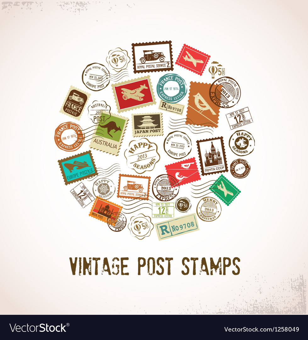 Vintage background with rubber stamps vector | Price: 1 Credit (USD $1)