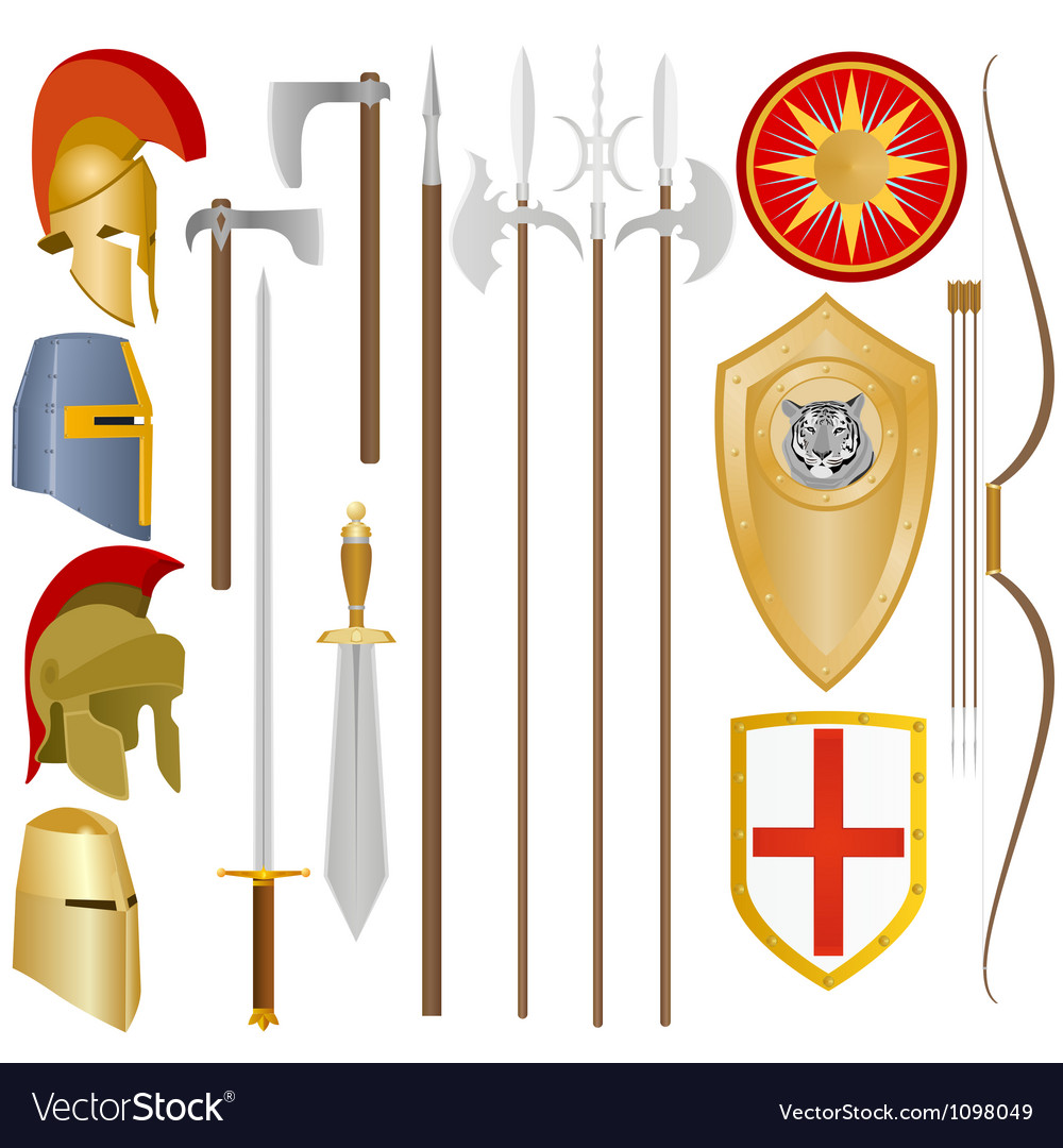 Weapon and armor of ancient soldiers vector | Price: 1 Credit (USD $1)