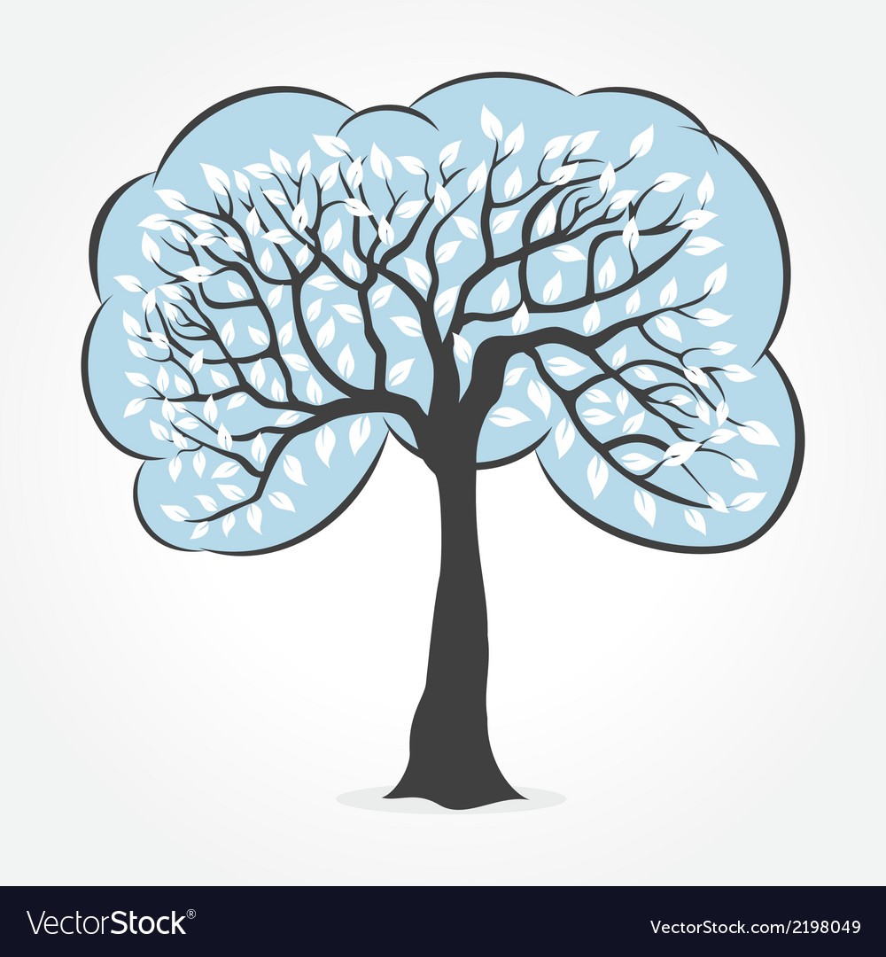 White leaf tree vector | Price: 1 Credit (USD $1)