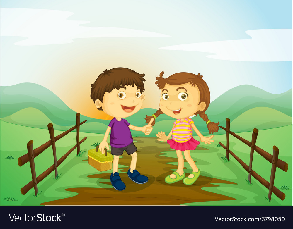 A girl and a boy vector | Price: 1 Credit (USD $1)